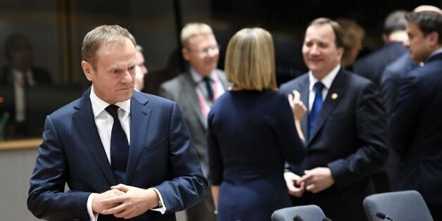 European Council President Donald Tusk arrives for a meeting as part of the EU summit on March 9, 2017...