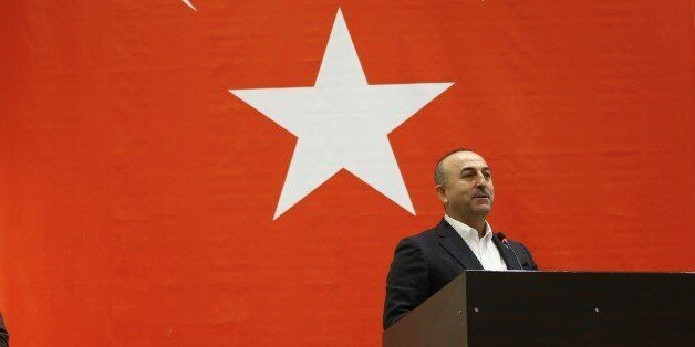 CANAKKALE, TURKEY - MARCH 15: Turkish Foreign Minister Mevlut Cavusoglu speaks during his visit to Canakkale...