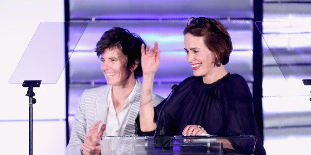 BEVERLY HILLS, CA - MARCH 11: Actress Sarah Paulson (L) and comedian Tig Notaro onstage at the Family...