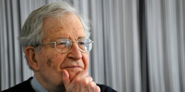US linguist, philosopher and political activist, Noam Chomsky addresses a press conference in the southern...