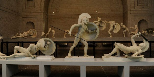 East Pediment's Group of the Temple of Aegina, Aphaia, Greece. Reconstruction. 19th century. Detail....