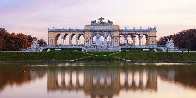 'Famous Gloriette right before the sunset. (Schoenbrunn, Vienna,