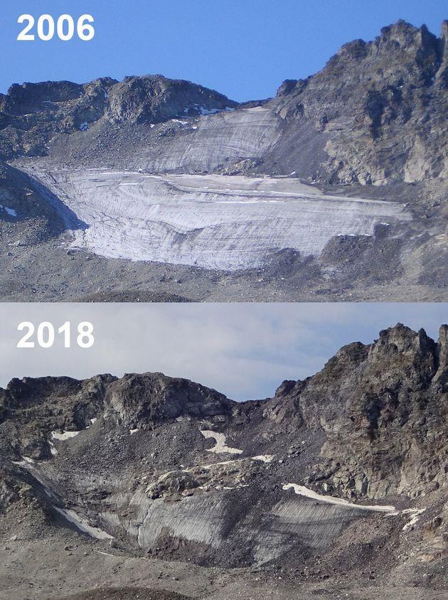 Sur ces deux photos, prises à douze ans d'intervalle, la fonte du glacier du Pizol, dans les Alpes suisses,...