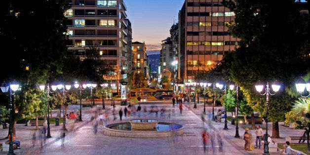 Athens, Greece- October 1, 2007: Night view of the the Syntagma square in the capital city of Greece...