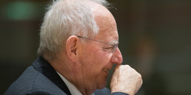 Wolfgang Schaeuble, Germany's finance minister, reacts ahead of an Ecofin meeting of European Union (EU)...
