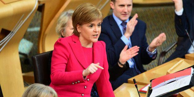 EDINBURGH, UNITED KINGDOM - MARCH 02: Scotland's First Minister Nicola Sturgeon speaks during First Minister's...
