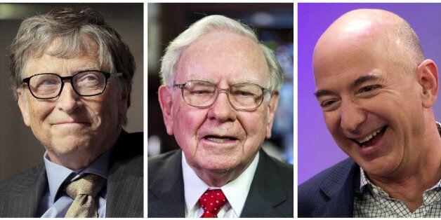 A combination photo shows L-R: Bill Gates in Washington on April 18, 2016, Warren Buffett, in New York...
