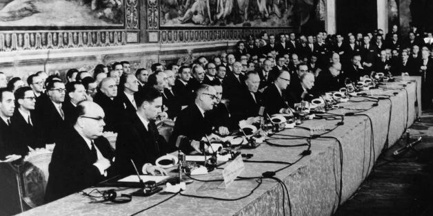 Delegates at the signing of the European Common Market Treaty in Rome. (Photo by Keystone/Getty