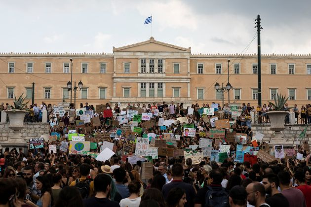 Greek students and activists of environmental organisations take part in a Global Climate Strike rally...