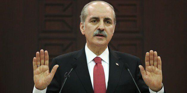 ANKARA, TURKEY - MARCH 13: Turkish Deputy Prime Minister Numan Kurtulmus gives a speech during a press...