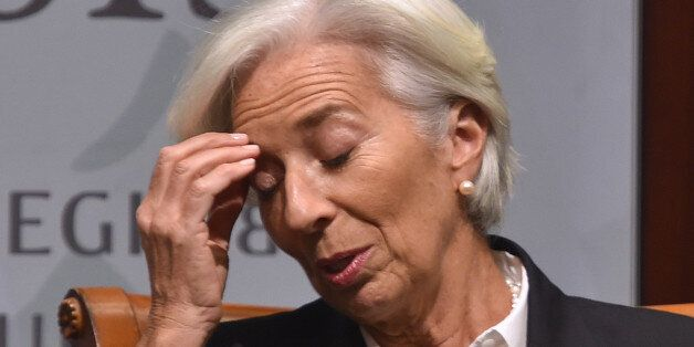 IMF Managing Director Christine Lagarde gestures during a discussion about 'The Economic Imperative of...