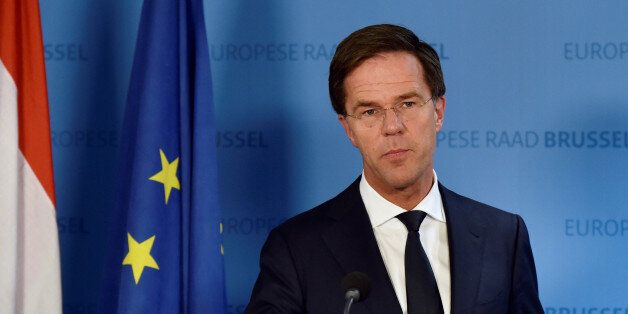 Netherlands' Prime Minister Mark Rutte holds a news conference during an EU Summit at the European Council...