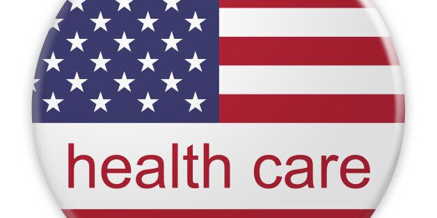 USA Politics News Concept Badge: Health Care Button With US Flag, 3d illustration on white