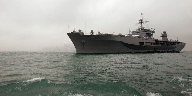 USS Blue Ridge (LCC19), the flagship of the U.S. Navy's Seventh Fleet, is seen in Hong Kong waters February...