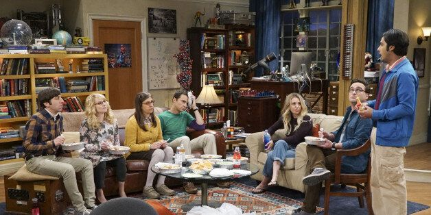 Pictured: Howard Wolowitz (Simon Helberg), Bernadette (Melissa Rauch), Amy Farrah Fowler (Mayim Bialik), Sheldon Cooper (Jim Parsons), Penny (Kaley Cuoco), Leonard Hofstadter (Johnny Galecki) and Rajesh Koothrappali (Kunal Nayyar). When Bert (Brian Posehn), a Caltech geologist, wins the MacArthur Genius fellowship, Sheldon is overcome with jealousy. Also, Wolowitz finds an old remote control Stephen Hawking action figure he invented, on THE BIG BANG THEORY, Thursday, Nov. 17 (8:00-8:31 PM, ET/PT