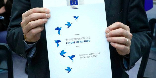 The cover page of the White Paper on the Future of Europe, which will be presented before the European...