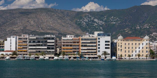 Greece, Thessaly Region, Pelion Peninsula, Volos, waterfront buildings and the University of