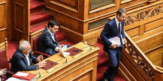 Prime Minister Alexis Tsipras and Kyriakos Mitsotakis in Athens, Greece, on September 28, 2016. (Photo...
