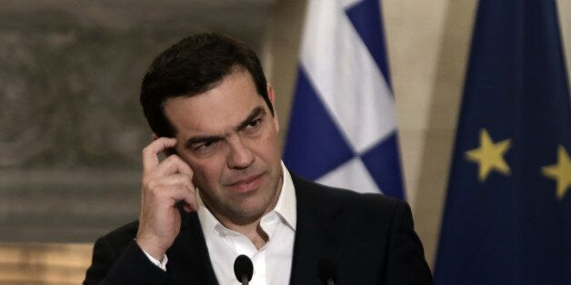 Greek Prime Minister Alexis Tsipras during joint statements to the press, with his Maltese counterpart...