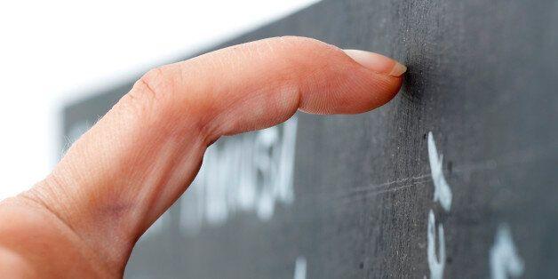 Long nail on chalkboard, selective
