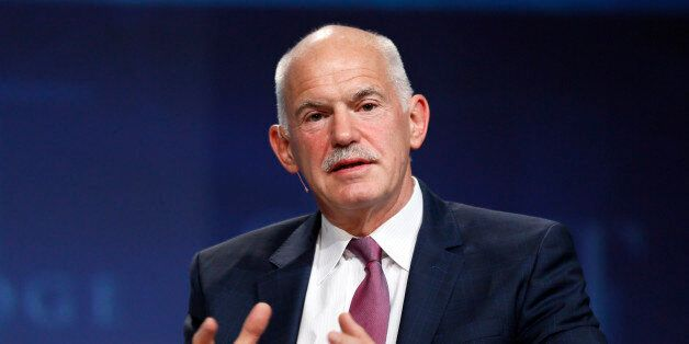 George Papandreou, former Greek prime minister, speaks at a panel discussion at the SALT conference in...