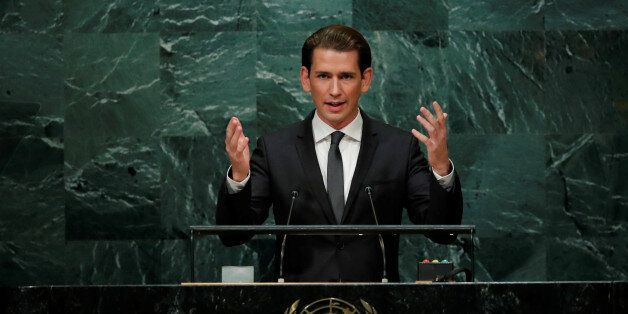 Austrian Foreign Minister Sebastian Kurz addresses the United Nations General Assembly in the Manhattan...