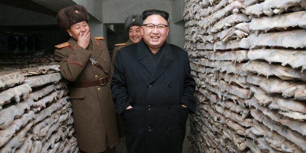 North Korean leader Kim Jong Un inspects the Headquarters of Large Combined Unit 966 of the Korean People's...
