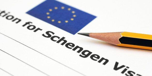 Close up of pencil on Schengen visa