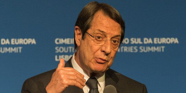LISBON, PORTUGAL - JANUARY 28: The President of Cyprus Nicos Anastasiades delivers a statement to the...