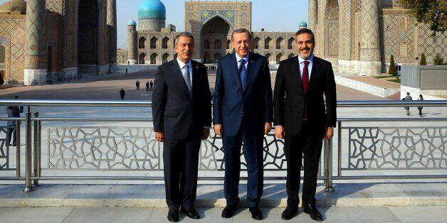SAMARKAND, UZBEKISTAN - NOVEMBER 18: President of Turkey, Recep Tayyip Erdogan (C), Head Of National...