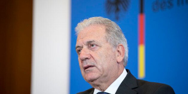 BERLIN, GERMANY - FEBRUARY 21: EU Commissioner for Migration, Home Affairs and Citizenship Dimitris Avramopoulos...