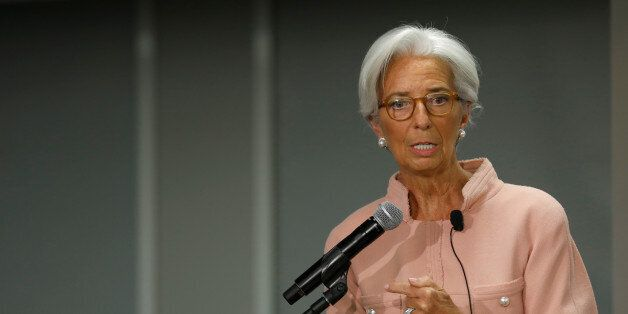 International Monetary Fund (IMF) Managing Director Christine Lagarde delivers remarks at the Atlantic...