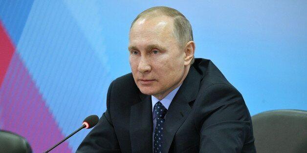 KRASNOYARSK, RUSSIA - MARCH 1, 2017: Russia's President Vladimir Putin attends a meeting held at the...