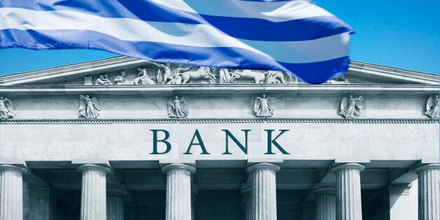 Bank with Greek flag