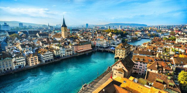 Aerial view of Zurich, Switzerland. Taken from a church tower overlooking the Limmat River. Beautiful...
