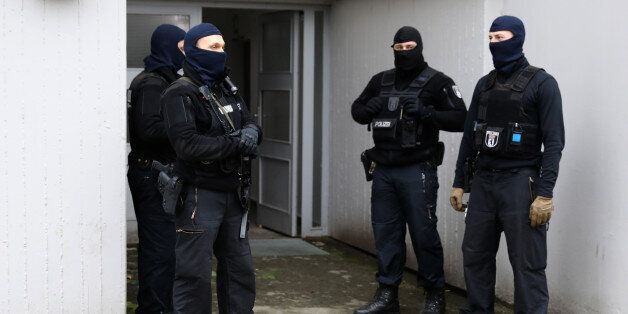 Special police outside a building at Maerkisches Viertel area in Berlin, Germany, February 28, 2017....
