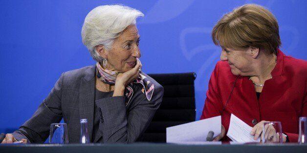 BERLIN, GERMANY - APRIL 5: German Chancellor Angela Merkel (R) meets Managing Director of the International...