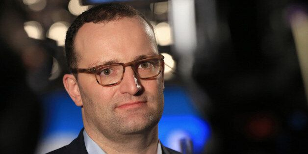 Jens Spahn, Germany's deputy finance minister and Christian Democratic Union party member, pauses during...