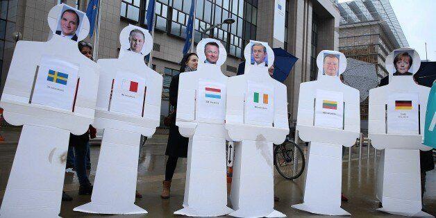 Από συγκέντρωση διαμαρτυρίας υπέρ των προσφύγων στην Πλατεία Σούμαν του Βελγίου, στις 6 Μαρτίου