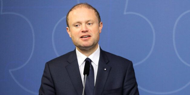 Joseph Muscat, Prime Minister of Malta (L), and his Swedish counterpart Stefan Lofven speak during a...