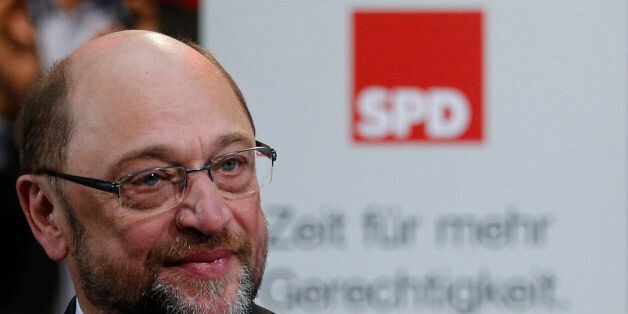 Former European Parliament president Martin Schulz reacts after his speech at a meeting of the Social...