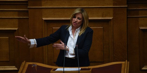 Fofi (Foteini) Genimata, chairwoman of PASOK during a debate about the problems of agriculture in the...
