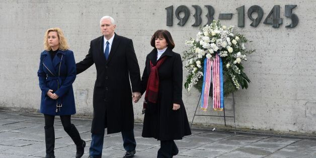 US Vice President Michael Richard Pence (C), his wife Karen Pence (R) and his daughter Charlotte Pence...