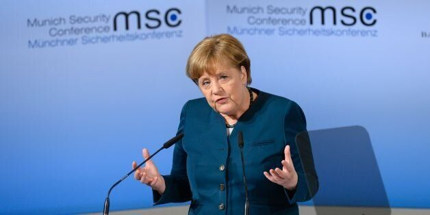 German Chancellor Angela Merkel delivers a speech on the 2nd day of the 53rd Munich Security Conference...