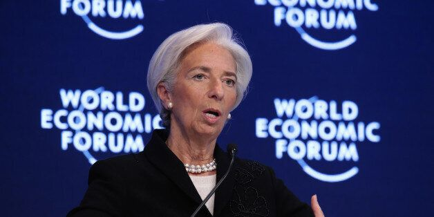 Christine Lagarde, managing director of the International Monetary Fund (IMF), gestures as she speaks...