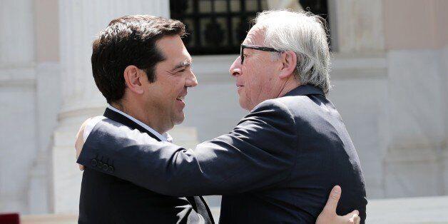 ATHENS, GREECE - JUNE 21: President of the European Commission, Jean-Claude Juncker (R) meets Greek Prime...