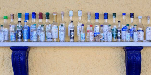 Ouzo bottles, Port of Katakolon, Peloponnese, Greece,