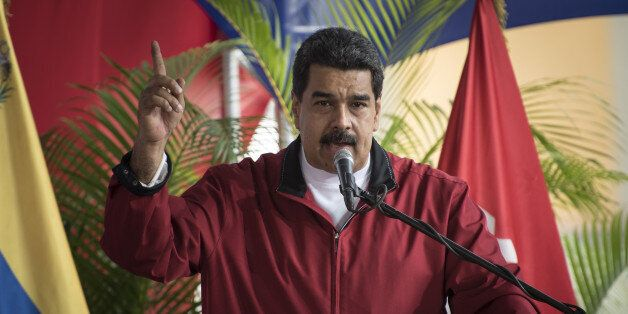 Nicolas Maduro, president of Venezuela, speaks during a swearing in ceremony for the new board of directors...
