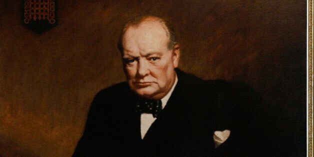 A painting depicting former British Prime Minister Winston Churchill is seen as the leader of Britain's...