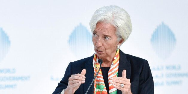 International Monetary Fund Managing Director Christine Lagarde speaks during an open discussion at the...